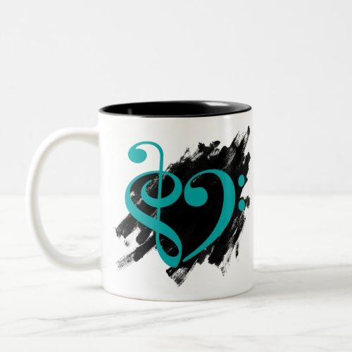 Treble Clef Bass Clef Turquoise Musical Heart Grunge Bassist Two-Tone Coffee Mug