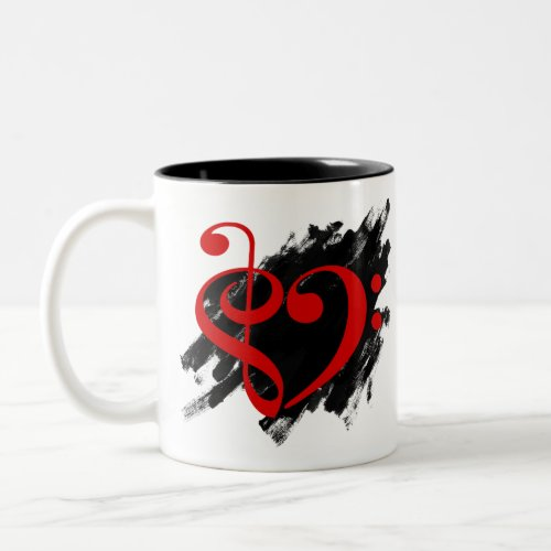 Treble Clef Bass Clef Red Musical Heart Grunge Bassist Two-Tone Coffee Mug