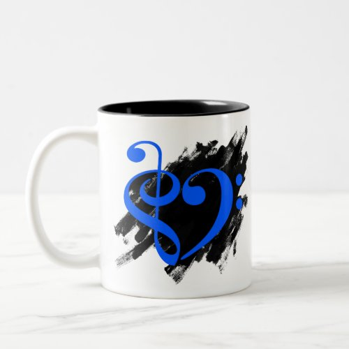 Treble Clef Bass Clef Royal Blue Musical Heart Grunge Bassist Two-Tone Coffee Mug