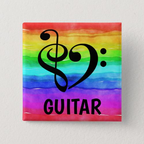 Treble Clef Bass Clef Musical Heart Guitar Music Lover 2-inch Square Button