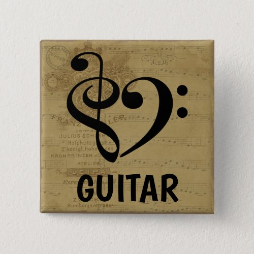 Treble Clef Bass Clef Musical Heart Guitar Sheet Music 2-inch Square Button