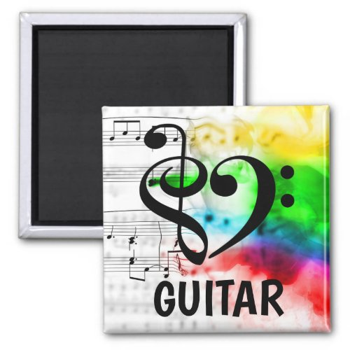 Treble Clef Bass Clef Musical Heart Guitar Music Lover 2-inch Square Magnet