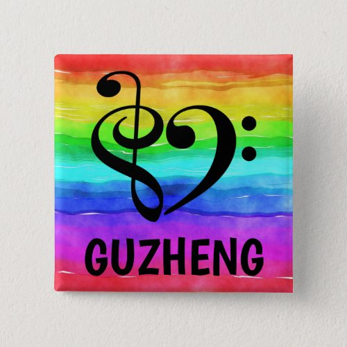 Treble Clef Bass Clef Musical Heart Guzheng Music Lover 2-inch Square Button