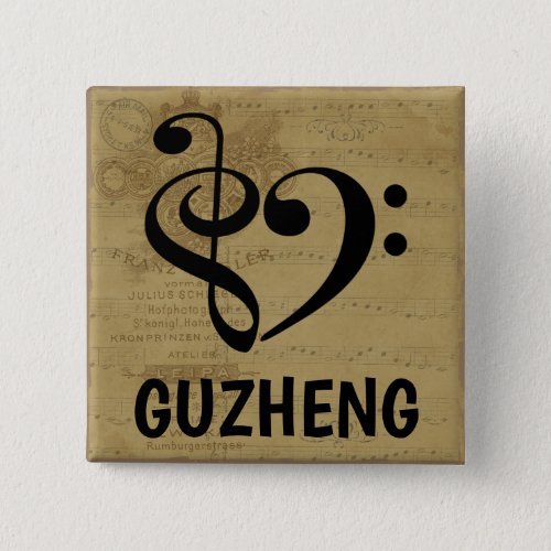 Treble Clef Bass Clef Musical Heart Guzheng Sheet Music 2-inch Square Button