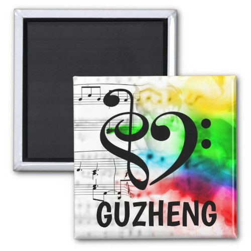 Treble Clef Bass Clef Musical Heart Guzheng Music Lover 2-inch Square Magnet