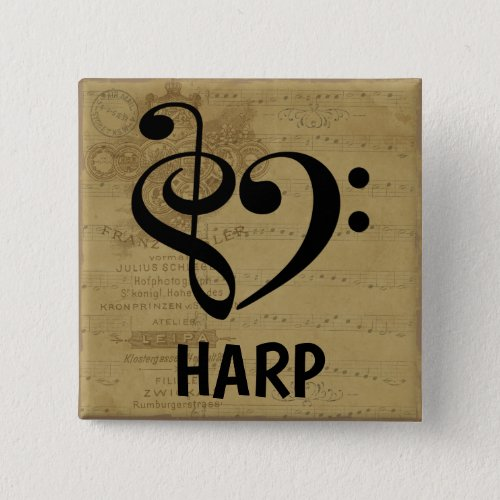 Treble Clef Bass Clef Musical Heart Harp Sheet Music 2-inch Square Button