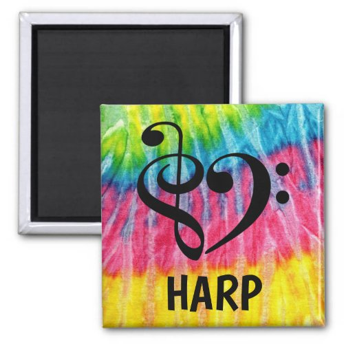 Treble Clef Bass Clef Musical Heart Harp Music Lover 2-inch Square Magnet