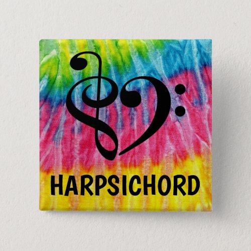 Treble Clef Bass Clef Musical Heart Harpsichord Music Lover 2-inch Square Button