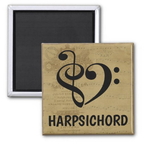 Treble Clef Bass Clef Musical Heart Harpsichord 2-inch Square Magnet