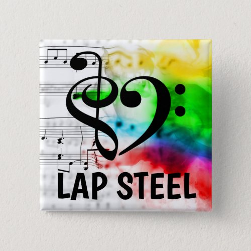 Treble Clef Bass Clef Musical Heart Lap Steel Music Lover 2-inch Square Button