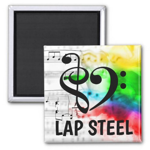 Treble Clef Bass Clef Musical Heart Lap Steel Music Lover 2-inch Square Magnet