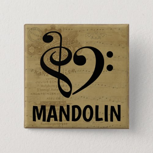 Treble Clef Bass Clef Musical Heart Mandolin Sheet Music 2-inch Square Button