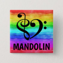 Treble Clef Bass Clef Musical Heart Mandolin Button
