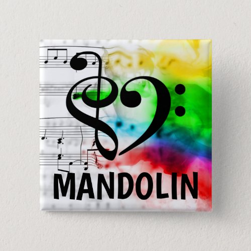 Treble Clef Bass Clef Musical Heart Mandolin Music Lover 2-inch Square Button