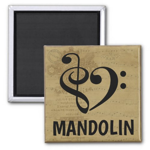 Treble Clef Bass Clef Musical Heart Mandolin Music Lover 2-inch Square Magnet