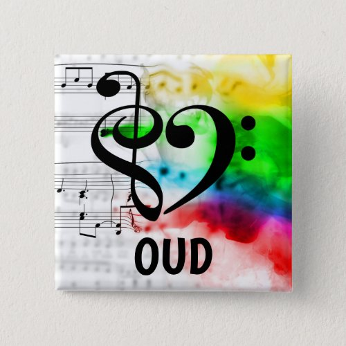 Treble Clef Bass Clef Musical Heart Oud Music Lover 2-inch Square Button