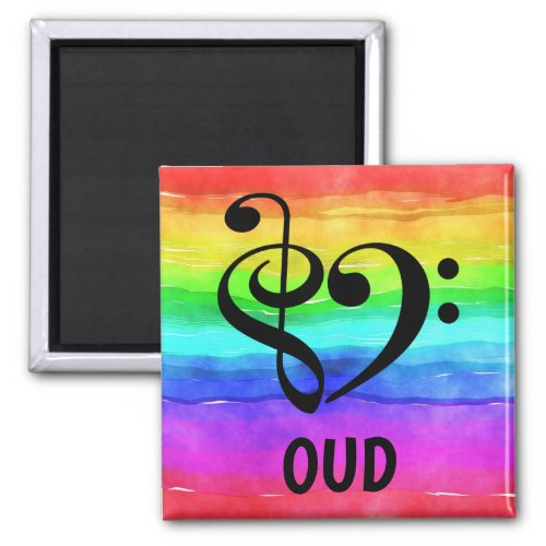 Treble Clef Bass Clef Musical Heart Oud Music Lover 2-inch Square Magnet