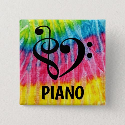 Treble Clef Bass Clef Musical Heart Piano Music Lover 2-inch Square Button