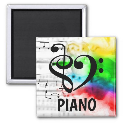Treble Clef Bass Clef Musical Heart Piano Music Lover 2-inch Square Magnet