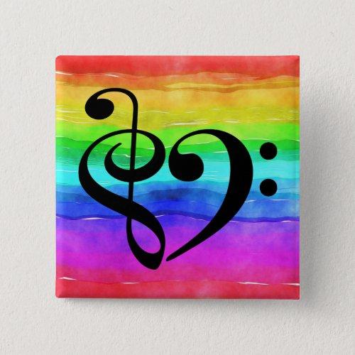 Treble Clef Bass Clef Musical Heart Rainbow Stripe 2-inch Square Button