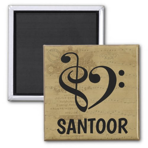 Treble Clef Bass Clef Musical Heart Santoor Music Lover 2-inch Square Magnet