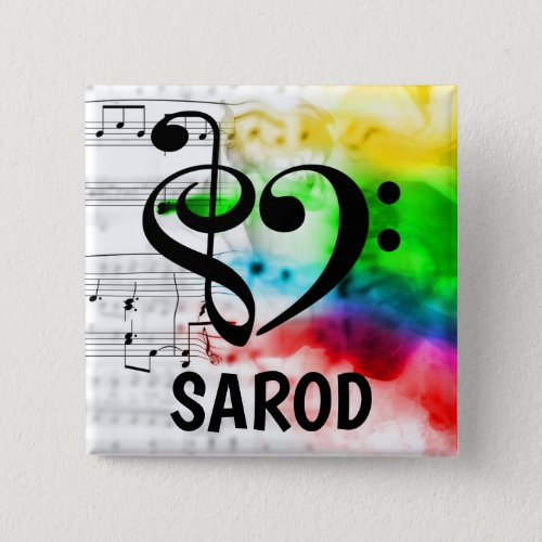 Treble Clef Bass Clef Musical Heart Sarod Music Lover 2-inch Square Button