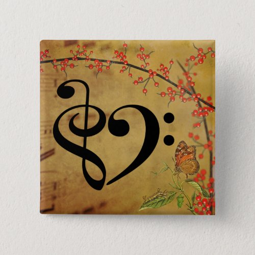 Treble Clef Bass Clef Musical Heart Sheet Music Butterfly 2-inch Square Button