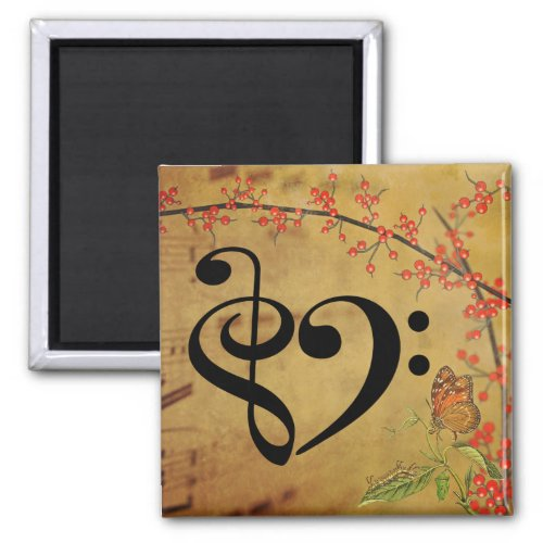 Treble Clef Bass Clef Musical Heart Sheet Music 2-inch Square Magnet