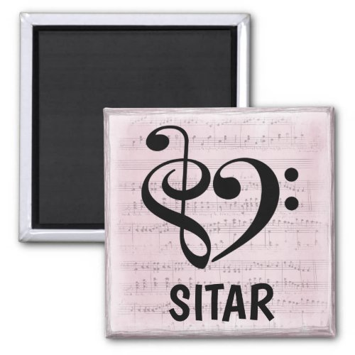 Treble Clef Bass Clef Musical Heart Sitar Music Lover 2-inch Square Magnet
