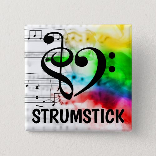 Treble Clef Bass Clef Musical Heart Strumstick Music Lover 2-inch Square Button