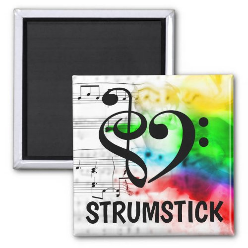 Treble Clef Bass Clef Musical Heart Strumstick Music Lover 2-inch Square Magnet