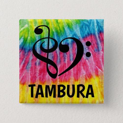 Treble Clef Bass Clef Musical Heart Tambura Music Lover 2-inch Square Button