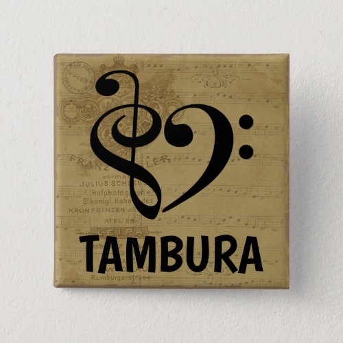 Treble Clef Bass Clef Musical Heart Tambura Sheet Music 2-inch Square Button