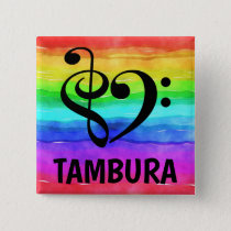Treble Clef Bass Clef Musical Heart Tambura Button