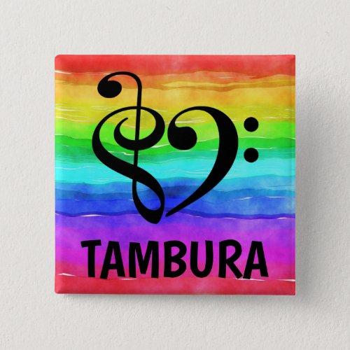 Treble Clef Bass Clef Musical Heart Tambura Music Lover 2-inch Square Button