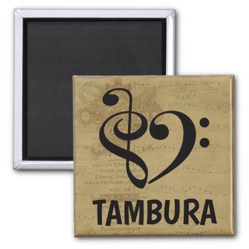 Treble Clef Bass Clef Musical Heart Tambura Music Lover 2-inch Square Magnet