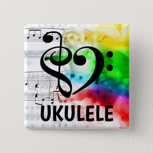 Treble Clef Bass Clef Musical Heart Ukulele Music Lover 2-inch Square Button