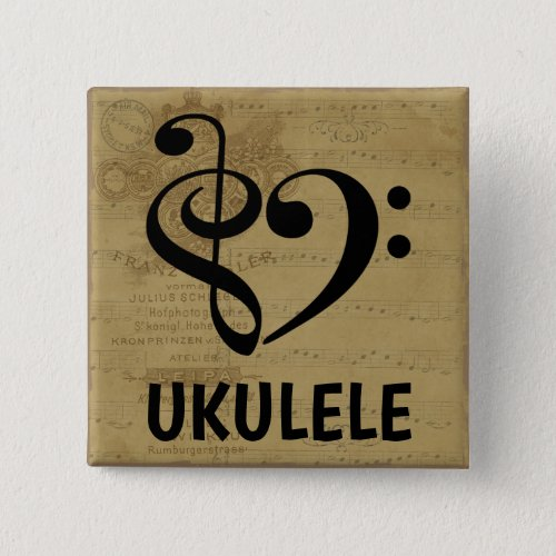 Treble Clef Bass Clef Musical Heart Ukulele Sheet Music 2-inch Square Button