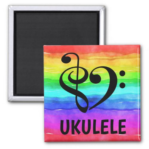 Treble Clef Bass Clef Musical Heart Ukulele Music Lover 2-inch Square Magnet