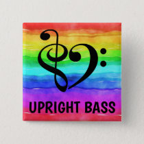 Treble Clef Bass Clef Musical Heart Upright Bass Button