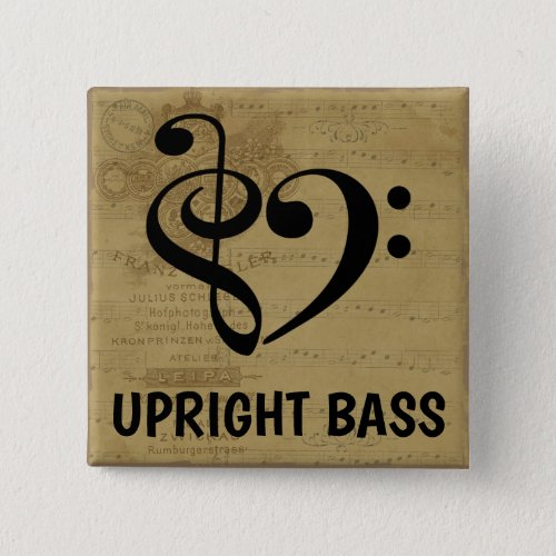 Treble Clef Bass Clef Musical Heart Upright Bass Sheet Music 2-inch Square Button