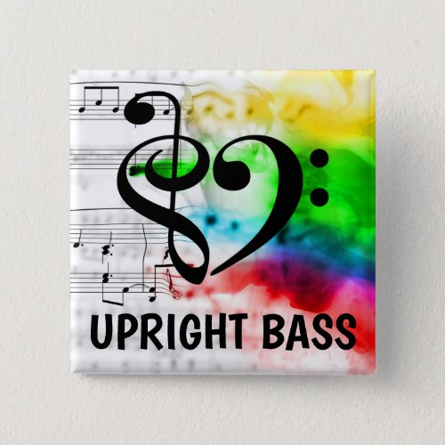 Treble Clef Bass Clef Musical Heart Upright Bass Music Lover 2-inch Square Button