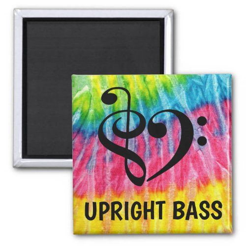 Treble Clef Bass Clef Musical Heart Upright Bass Music Lover 2-inch Square Magnet