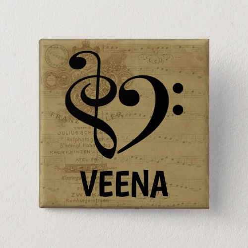 Treble Clef Bass Clef Musical Heart Veena Sheet Music 2-inch Square Button