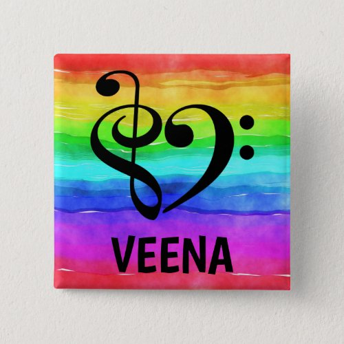 Treble Clef Bass Clef Musical Heart Veena Music Lover 2-inch Square Button