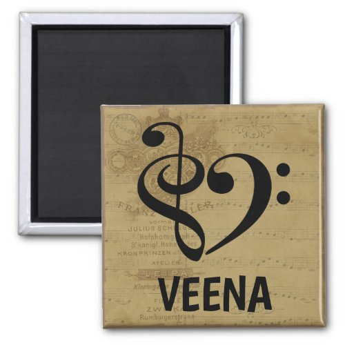 Treble Clef Bass Clef Musical Heart Veena Music Lover 2-inch Square Magnet