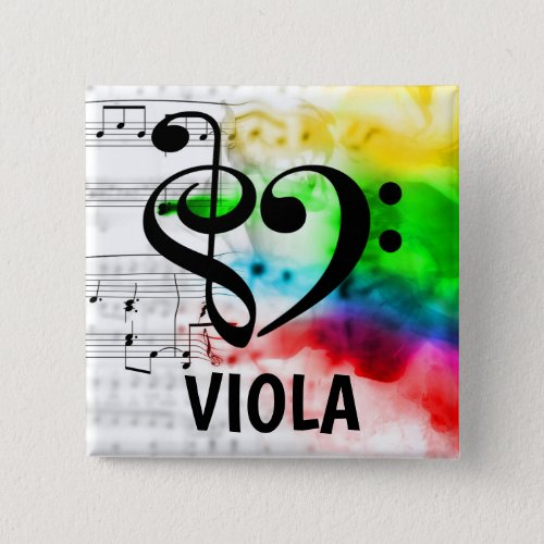 Treble Clef Bass Clef Musical Heart Viola Music Lover 2-inch Square Button