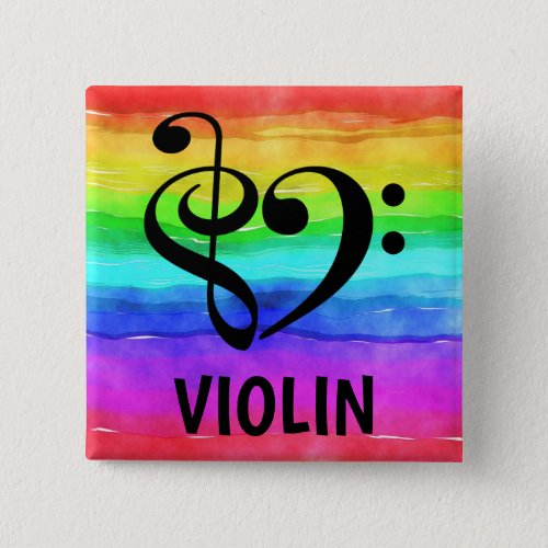 Treble Clef Bass Clef Musical Heart Violin Music Lover 2-inch Square Button