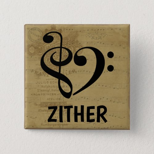 Treble Clef Bass Clef Musical Heart Zither Sheet Music 2-inch Square Button