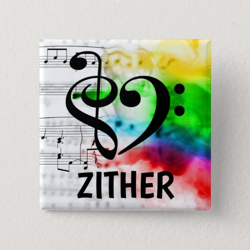 Treble Clef Bass Clef Musical Heart Zither Music Lover 2-inch Square Button